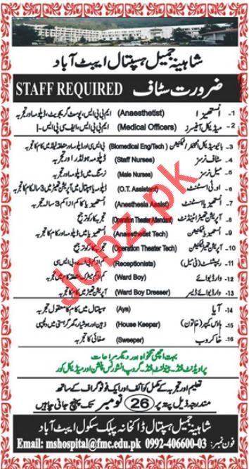 Shahina Jamil Teaching Hospital Abbottabad KPK Jobs 2018