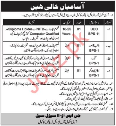 Army School of Physical Training UDC Jobs