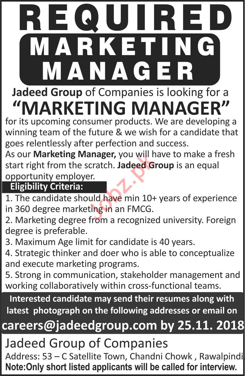 Marketing Manager for Jadeed Group of Companies