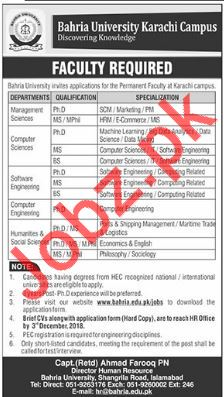 Bahria University Karachi Campus Faculty Jobs 2018