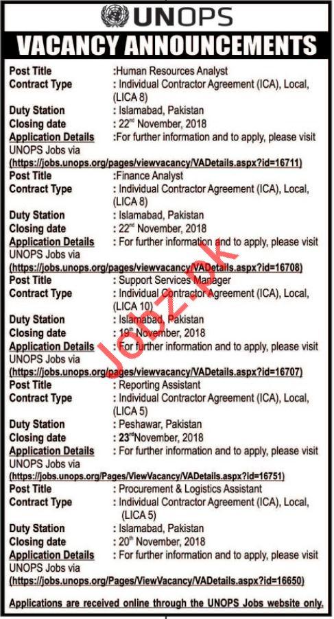 UNOPS Jobs 2018 For Peshawar & Islamabad