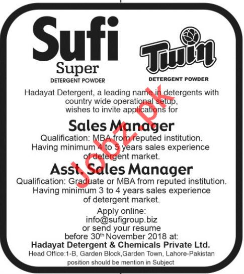 Sales Manager & Assistant Sales Manager Jobs 2018 in Lahore