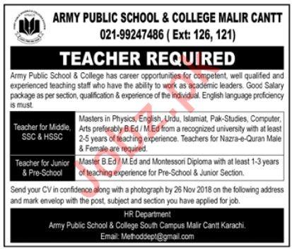 Army Public School & College Malir Cantt Teaching Jobs 2018