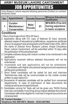 Curator Maintenance Jobs in Army Museum Lahore