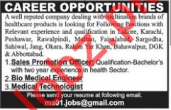 Sales Promotion Officer, Engineer, Medical Technologist Jobs