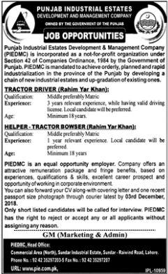 Punjab Industrial Estates Development Driver Jobs