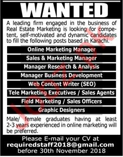 Online Marketing Manager for Real Estate Firm