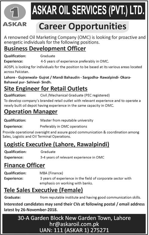 Oil Marketing Company OMC Business Development Officer