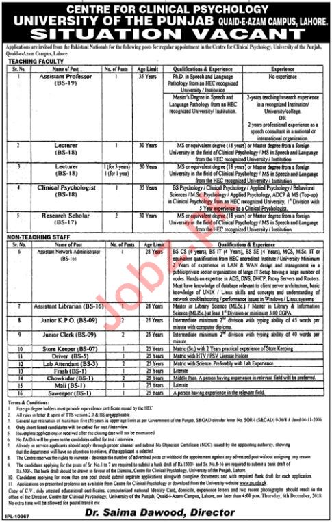 Assistant Professor for University of the Punjab