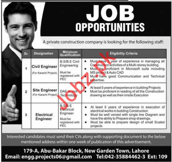 Engineering Jobs 2018 For Lahore