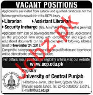 University of Central Punjab UCP Jobs 2018 in Lahore
