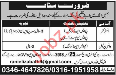 Vice Principal & Instructor Jobs 2018 in Attock