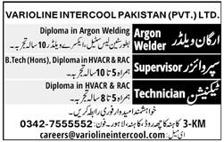 Argon Welder Jobs in Varioline Inercool Pakistan Limited