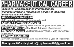 Production Manager Jobs in Pharmaceutical Manufacturing