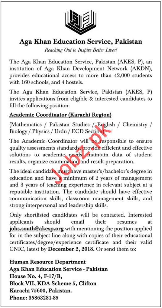 Aga Khan Education Service Pakistan AKESP Job 2018