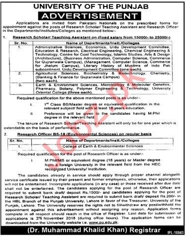 Research Officer for University of the Punjab