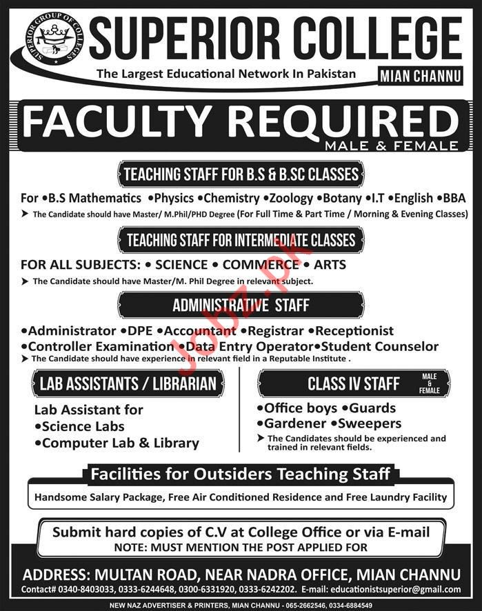 Superior College Mian Channu Jobs 2018 for Lecturers