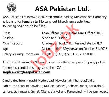 ASA Pakistan Karachi Jobs 2018 for Loan Officer