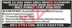 Viqar un Nisa Girls Secondary Institute Accountant Jobs