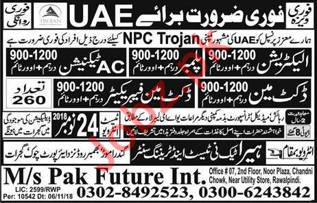 Electrician, Plumber, AC Technician & Docket Man Jobs