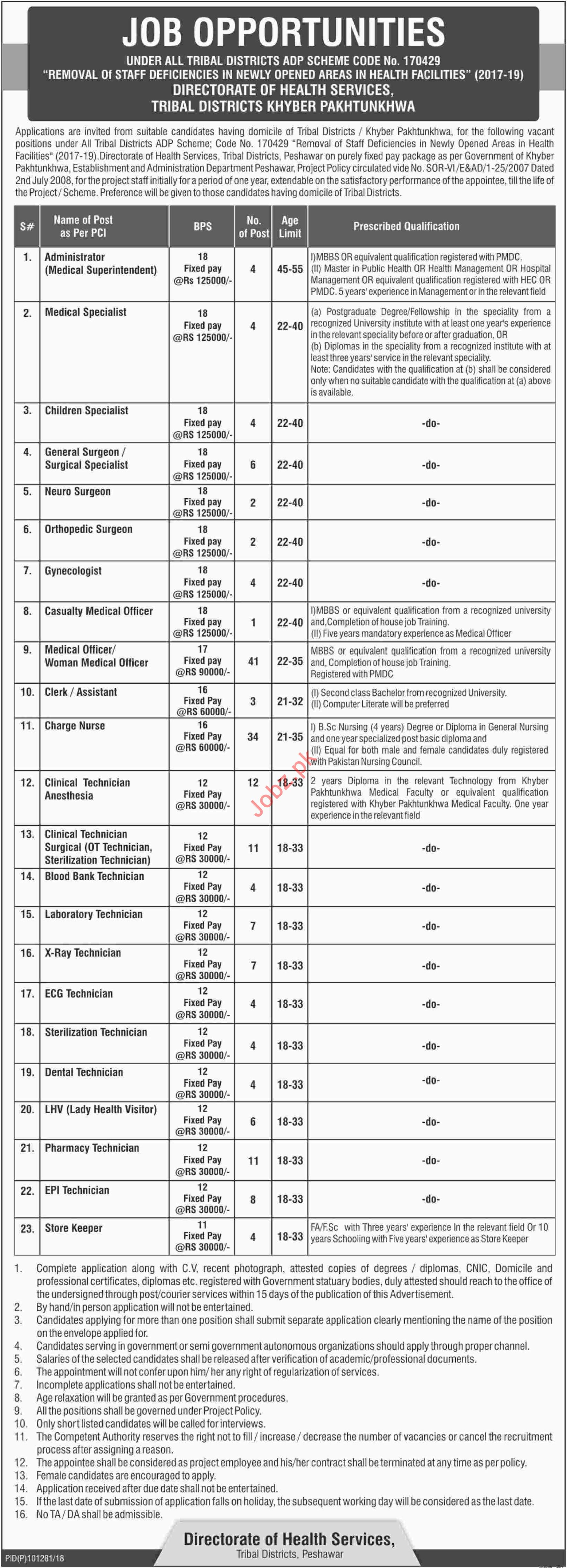 Directorate of Health Services Tribal Districts Jobs 2018