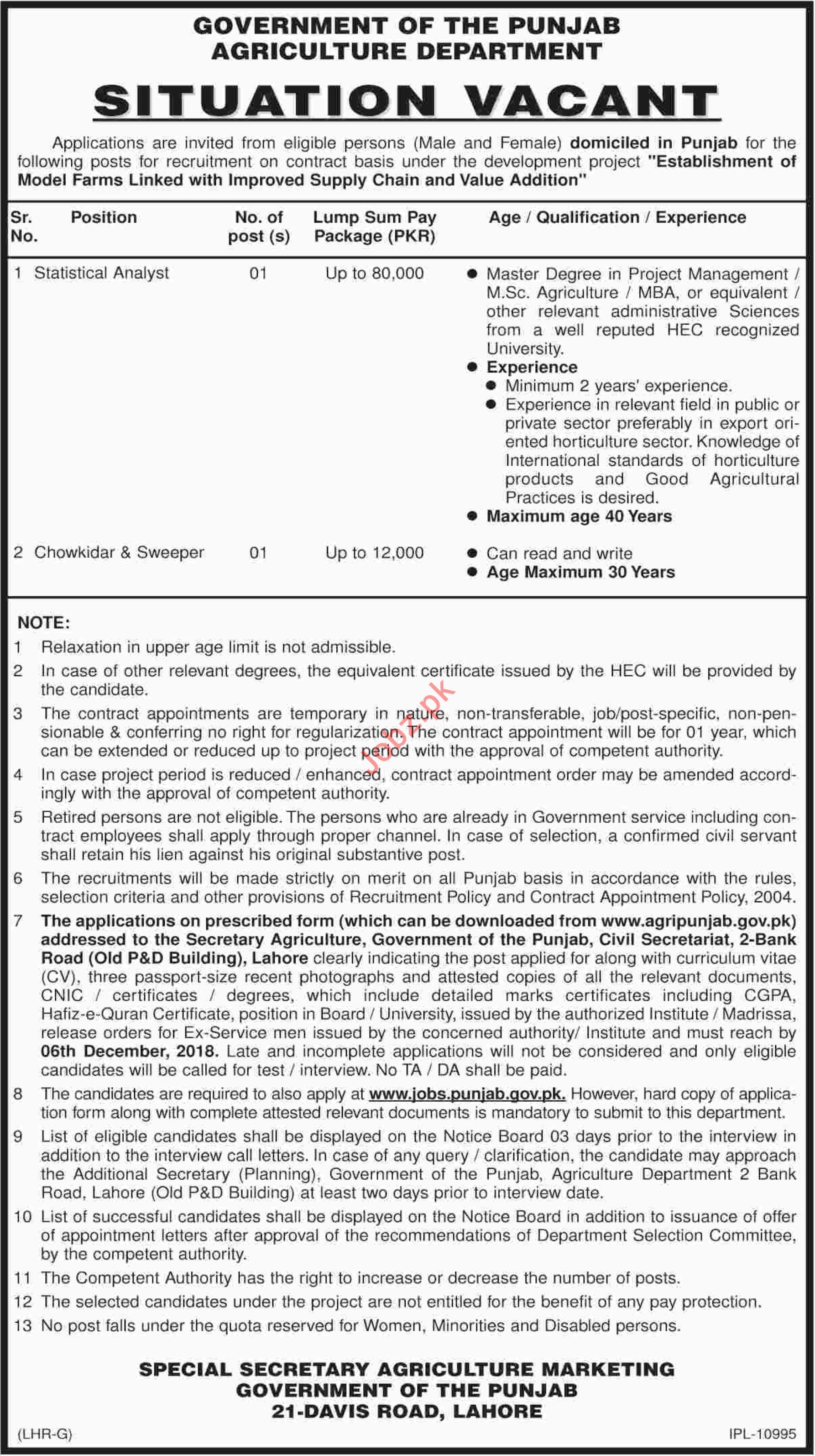 Agriculture Department Punjab Jobs 2018 Statistical Analyst