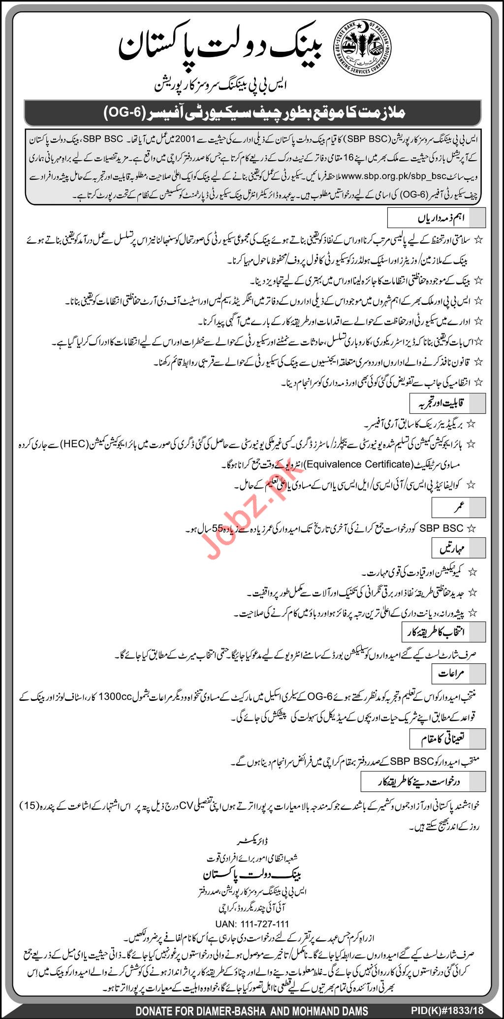 State Bank of Pakistan SBP Jobs for Chief Security Officer