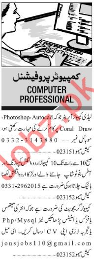 Jang Sunday Classified Ads 2018 for Computer Staff