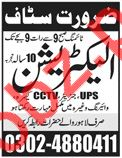 Electrician Job 2018 in Lahore