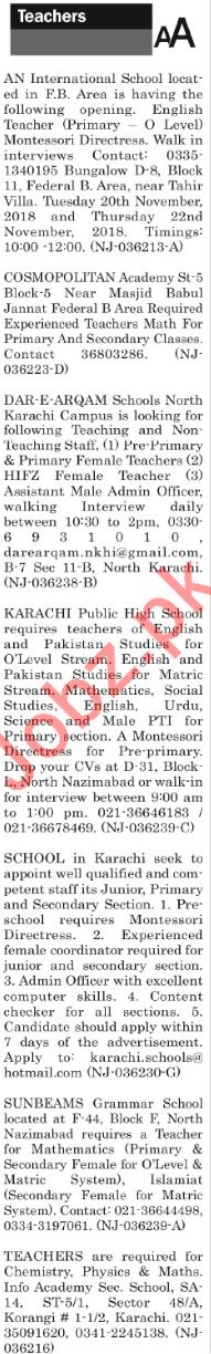 The News Sunday Classified Ads 2018 for Teaching Staff