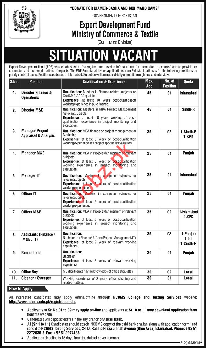 Commerce Division Jobs 2018 For Islamabad