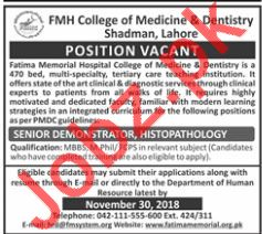 FMH College of Medicine & Dentistry Medical Jobs 2018