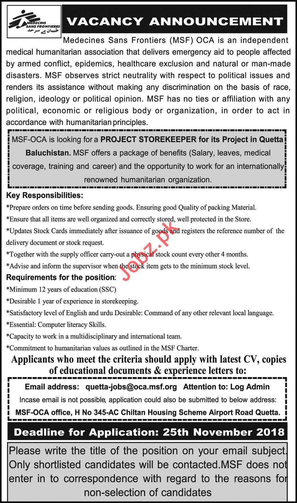 Medecines Sans Frontieres MSF NGO Job 2018 in Quetta