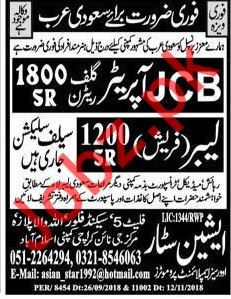 JCB Operator & Labor Jobs 2018 in Saudi Arabia