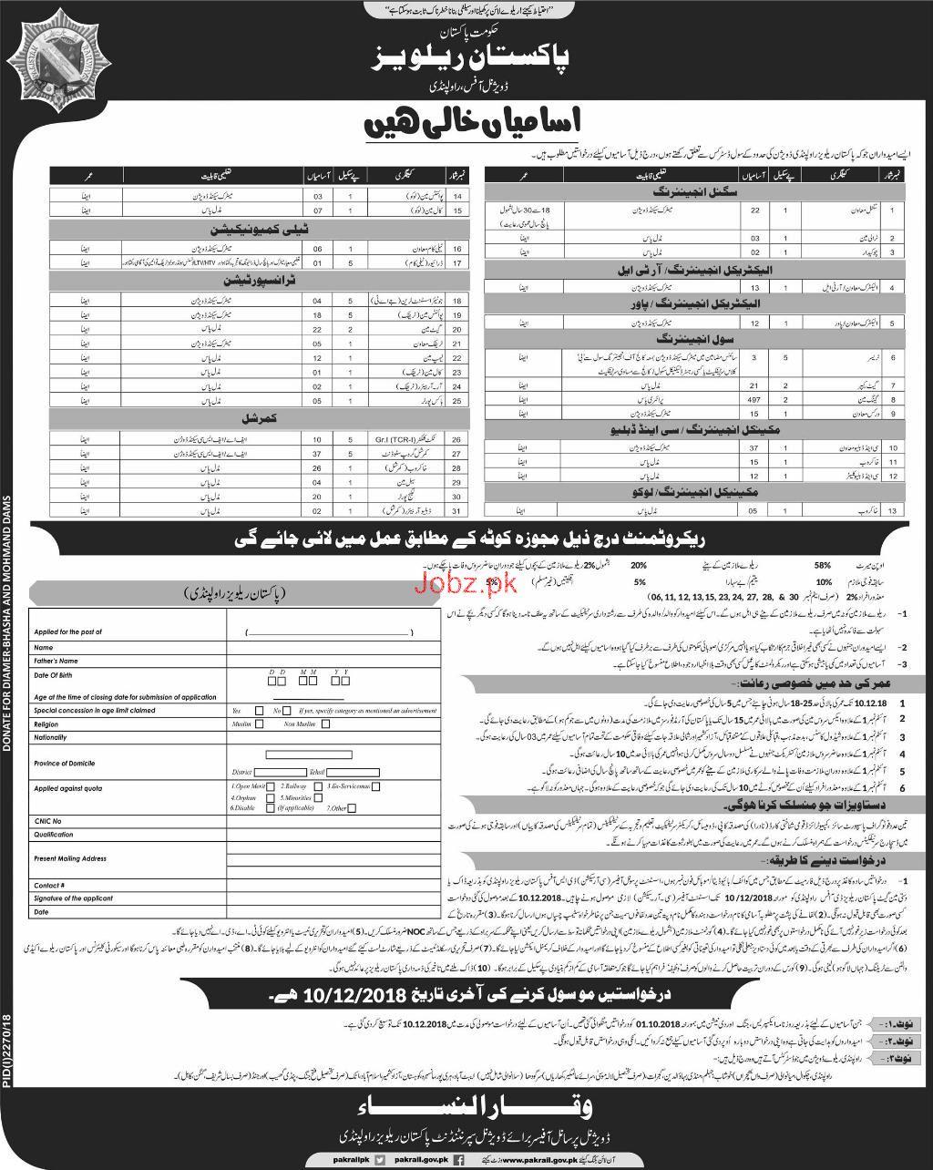 Pakistan Railway Divisional Office Rawalpindi Jobs