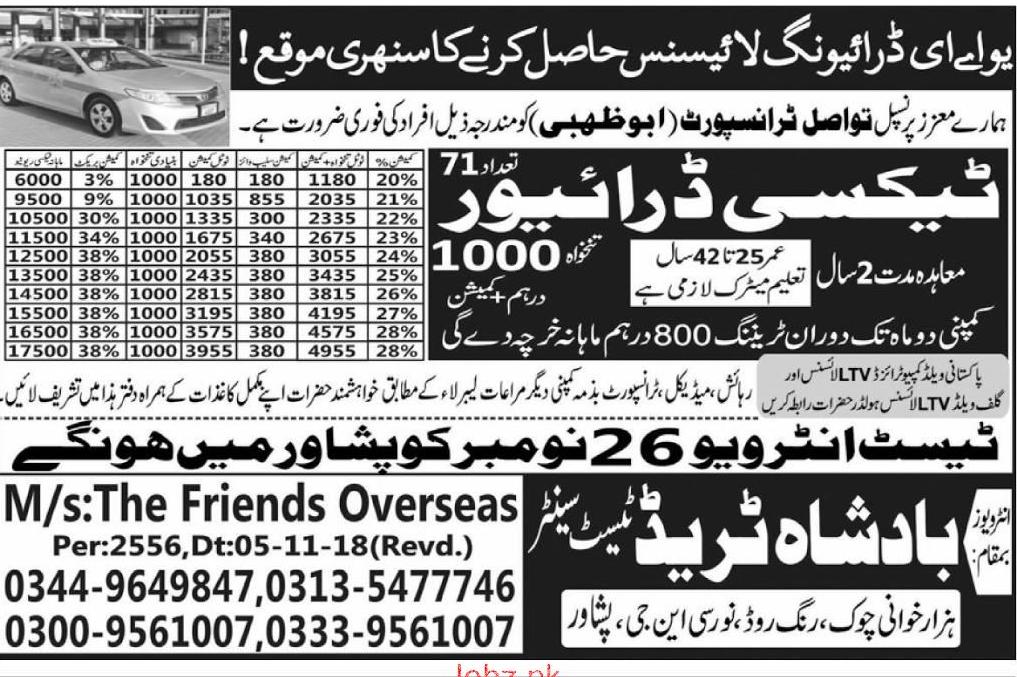 LTV Taxi  Drivers Job in Taswal Transport