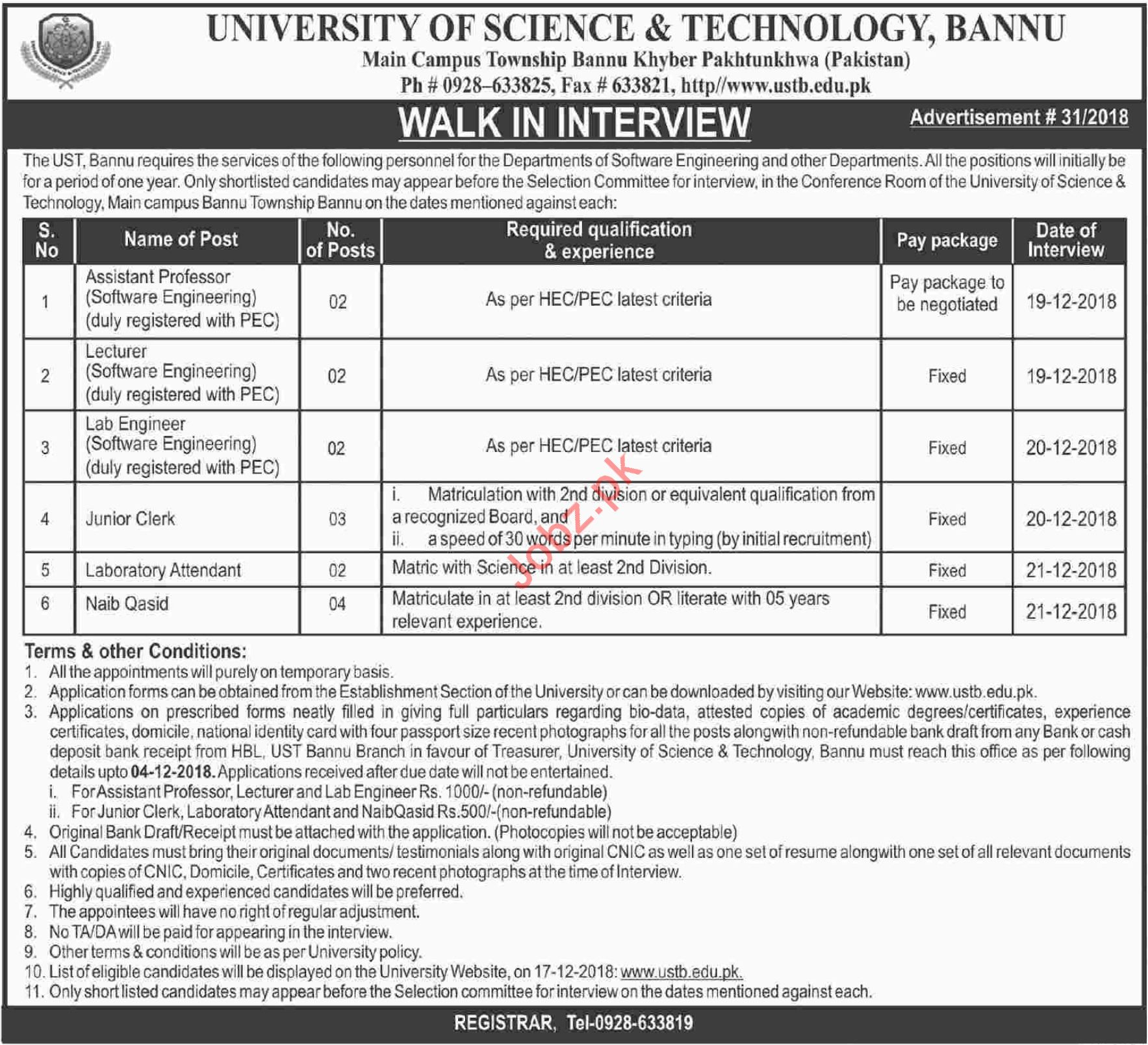 University of Science & Technology Bannu UST Jobs Interview