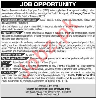 Managing Director Job Opportunities at PTET