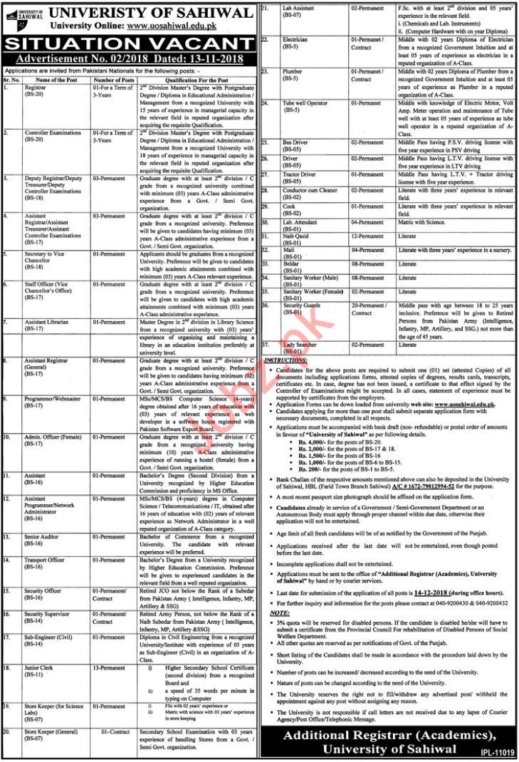 University of Sahiwal Registrar Job Opportunities