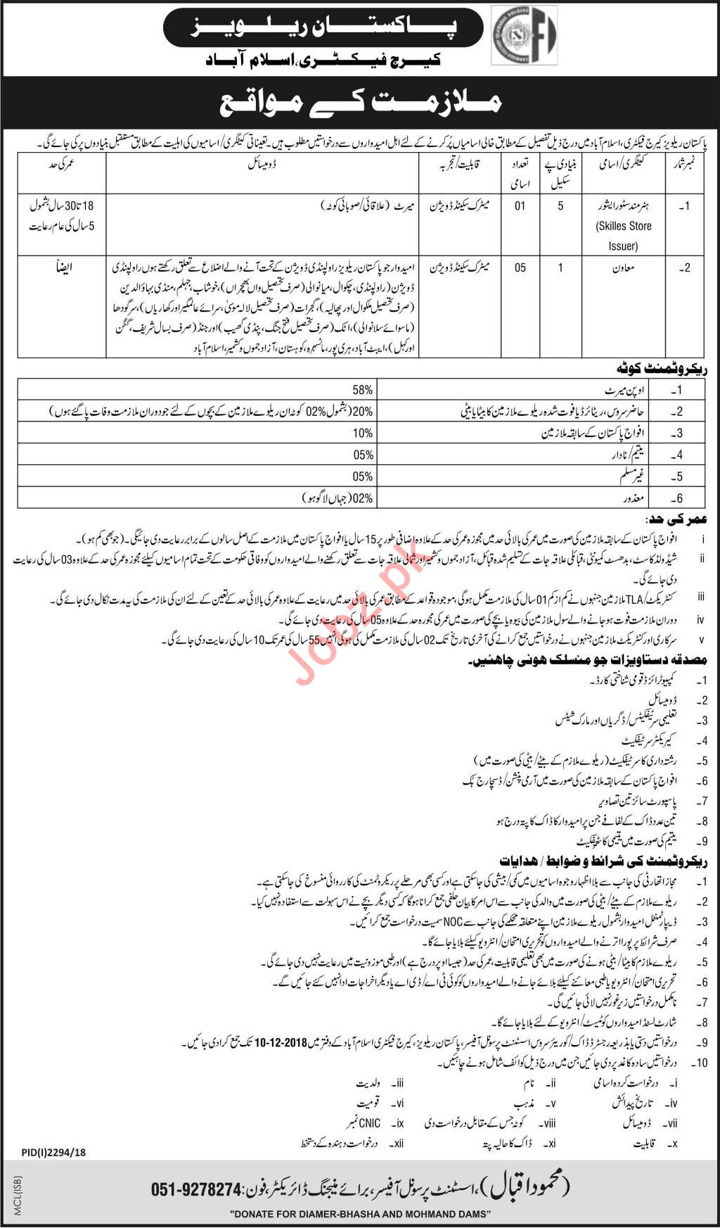 Pakistan Railways Carriage Factory Skilled Store Issuer Jobs