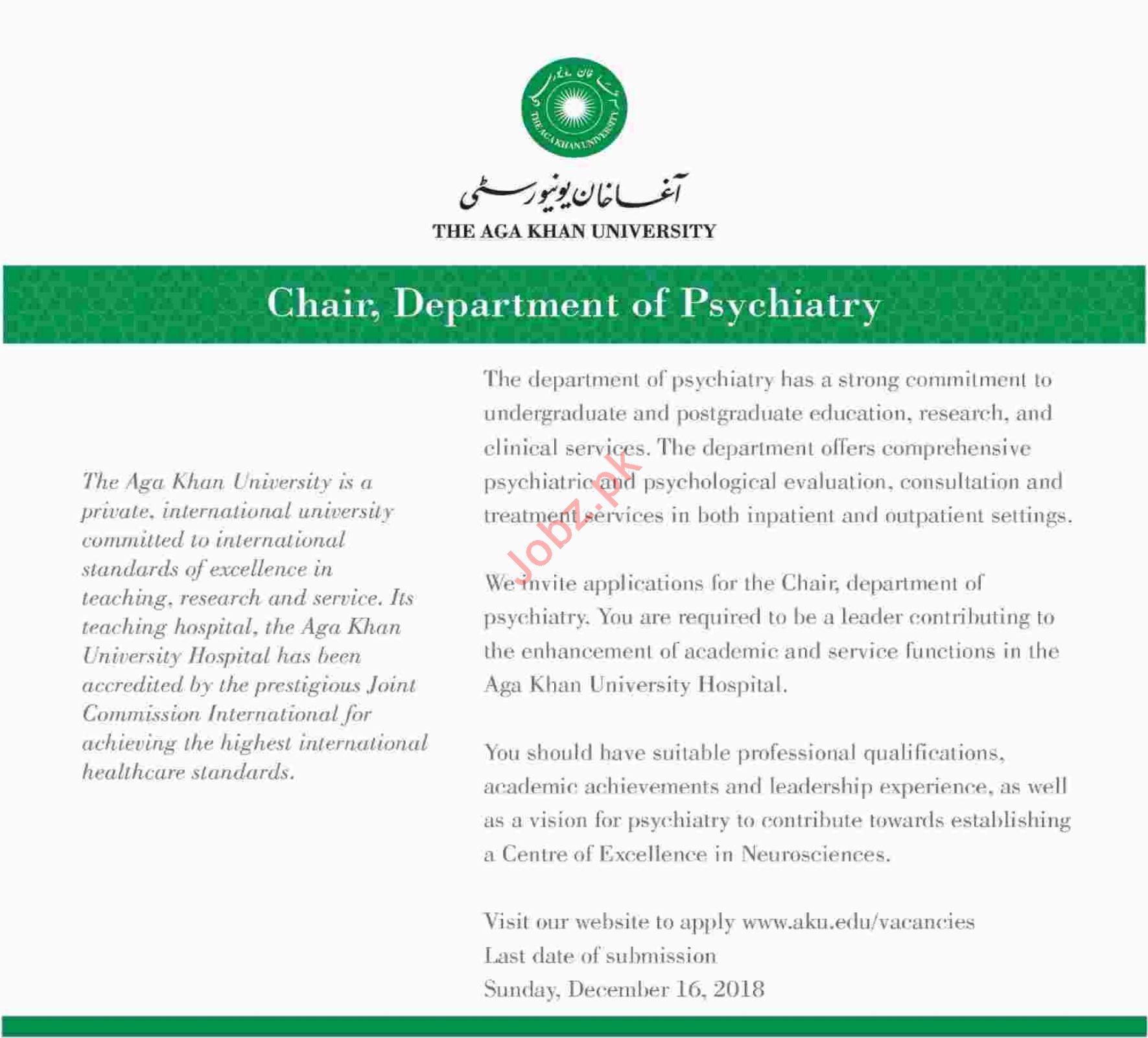 Chairman for Aga Khan University