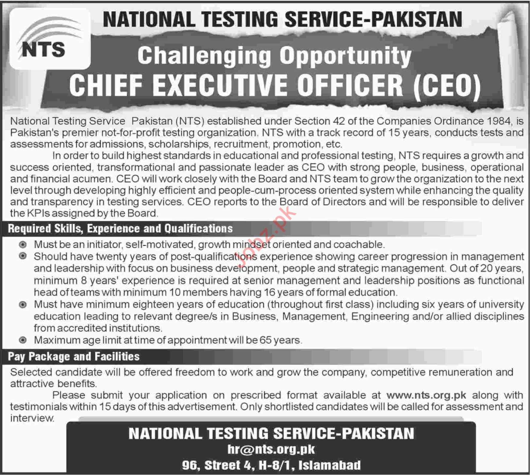 Chief Executive Officer for NTS