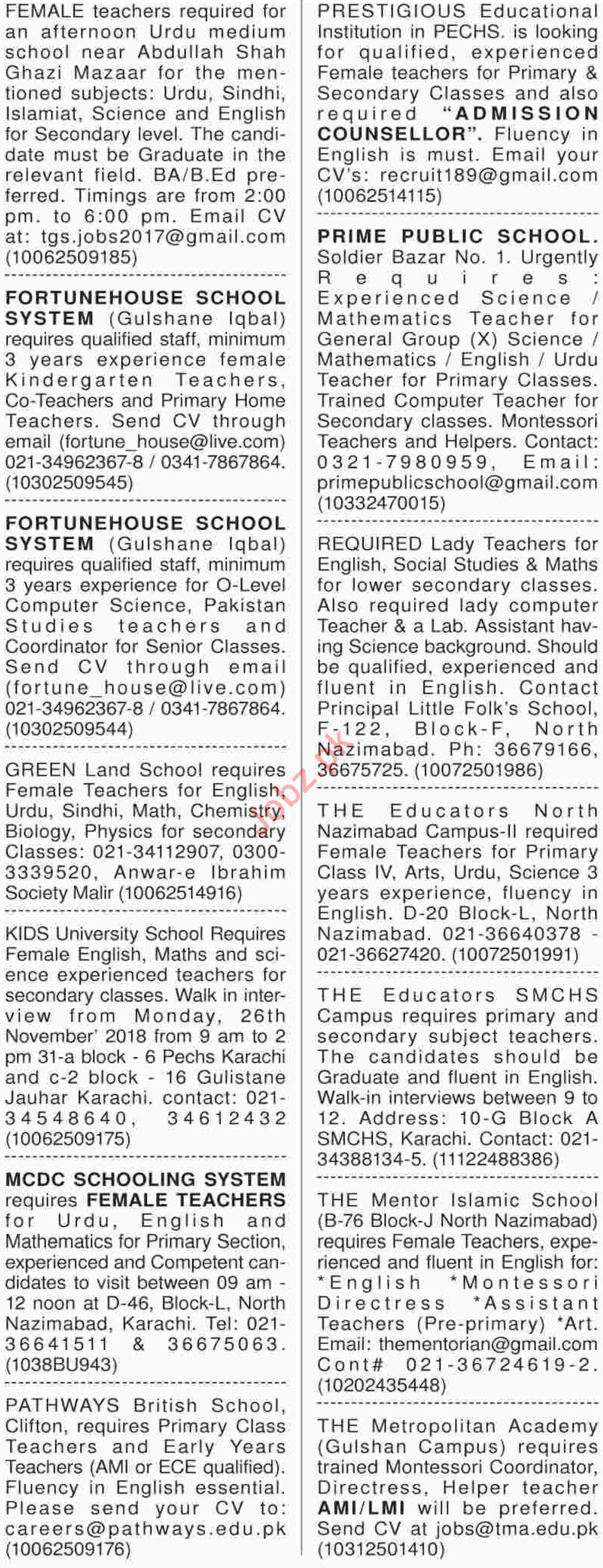 teaching jobs 2018 for school in karachi 2019 job