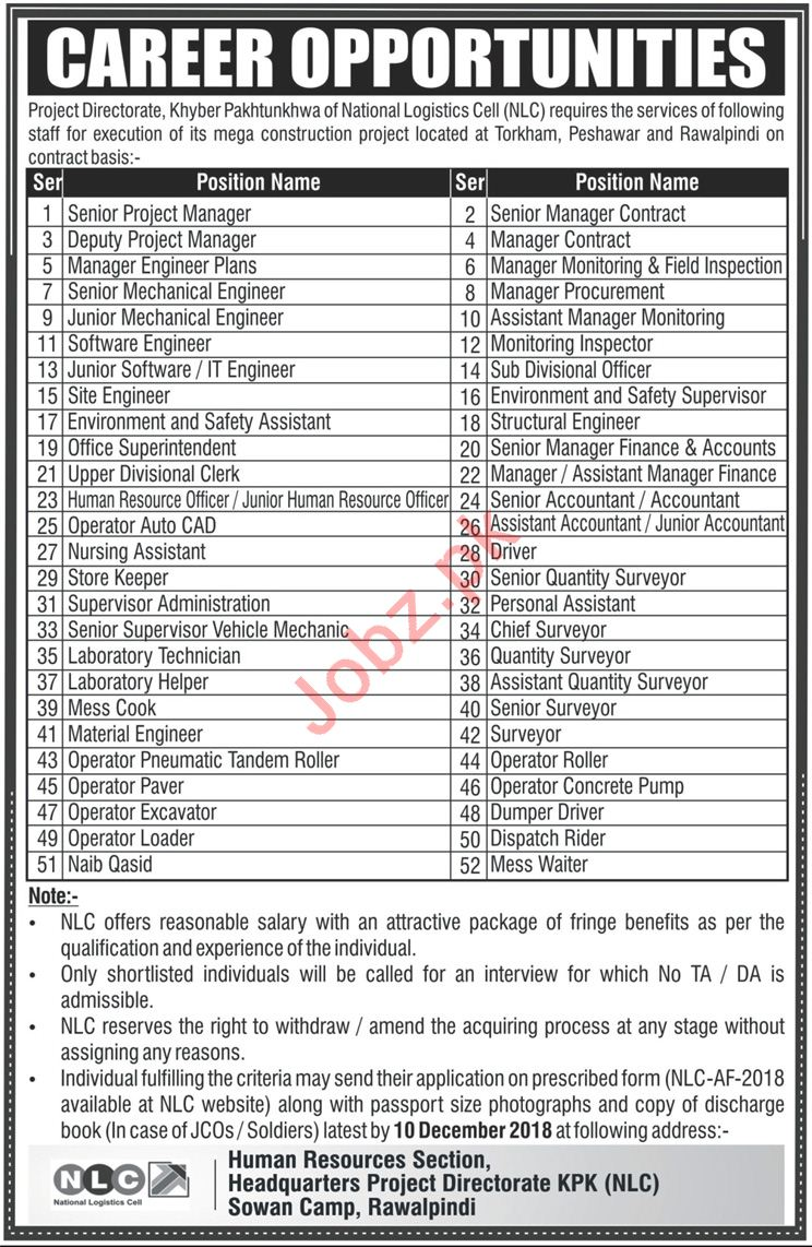 Senior Project Manager Jobs in National Logistics Cell NLC