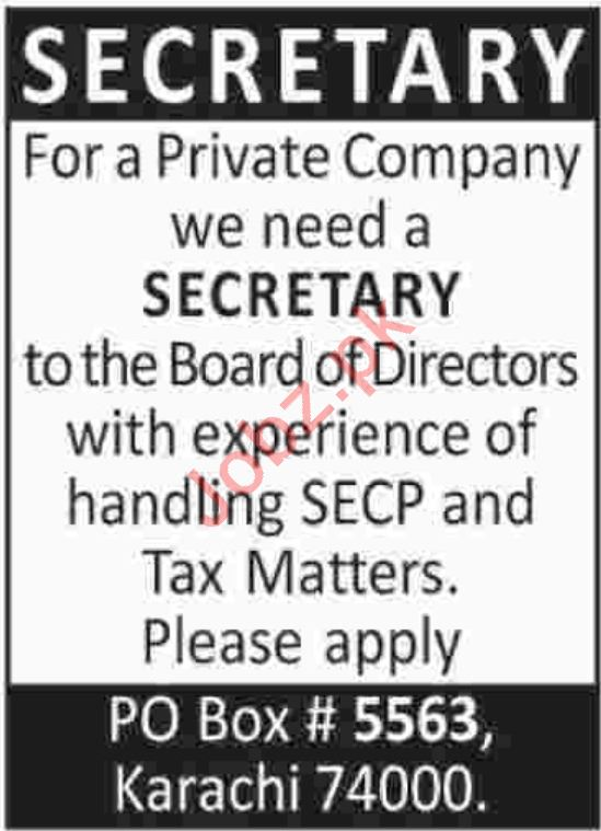 Secretary Jobs at Private Company