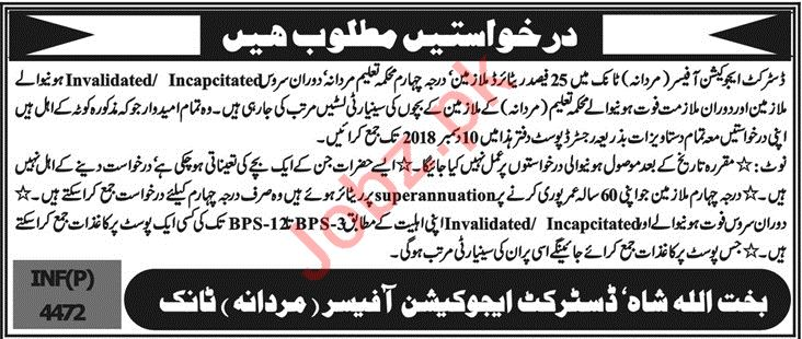 Education Officer Jobs in District Education Authority