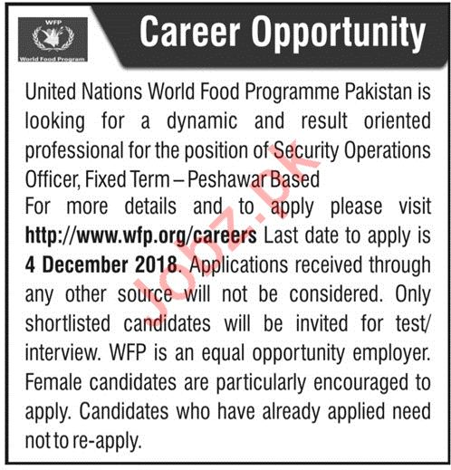 United Nations World Food Programme Pakistan Security Jobs