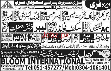 Technicians, Plumber, Charge Hand, Foreman Job Opportunity
