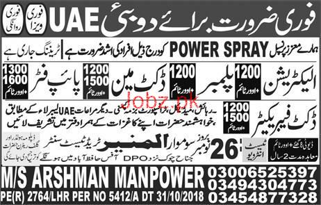 Electrician, Plumbers Ductman, Pipe Fitter Job Opportunity