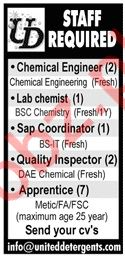 Chemical Engineer Jobs at United Detergents Plant